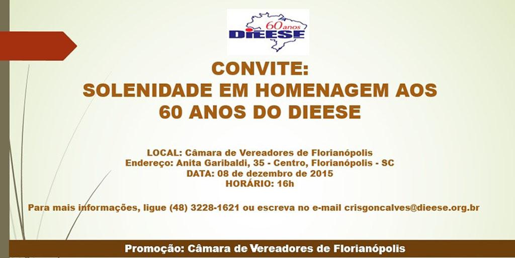 Homenagem aos 60 anos do DIEESE na Câmara de Vereadores de Florianópolis