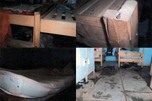 Colchões não tinham cobertores e pregos das estavam aparentes. Foto: SRTE/SC