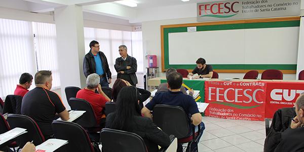 Diretoria da FECESC avalia trabalho e organiza a Greve Geral do dia 30 de junho