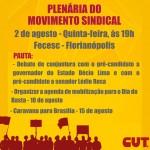 CUT-SC promove plenária do Movimento Sindical no dia 2 de agosto