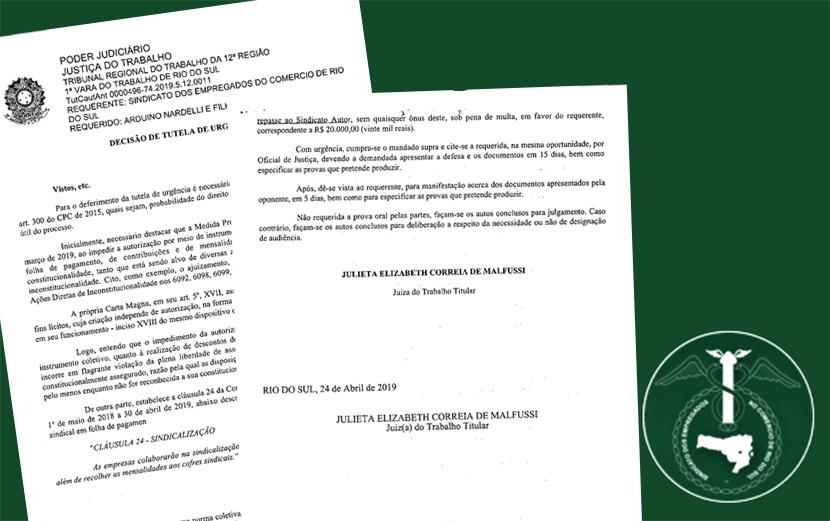 Justiça determina que empresas de Rio do Sul realizem desconto em folha para Sindicato