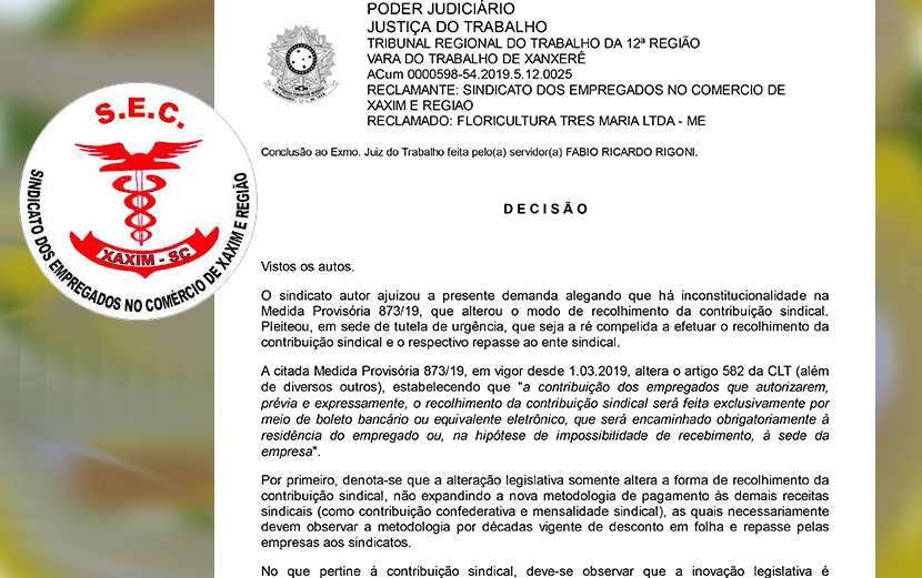 Justiça determina o desconto em folha de contribuições dos associados do SEC Xaxim