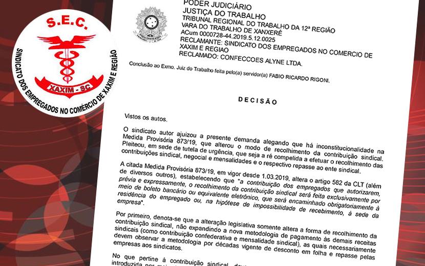 Sindicato dos Comerciários de Xaxim obteve segunda liminar contrária ao cumprimento da MP 873
