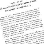 Advogados catarinenses pedem investigação de manifestações golpistas