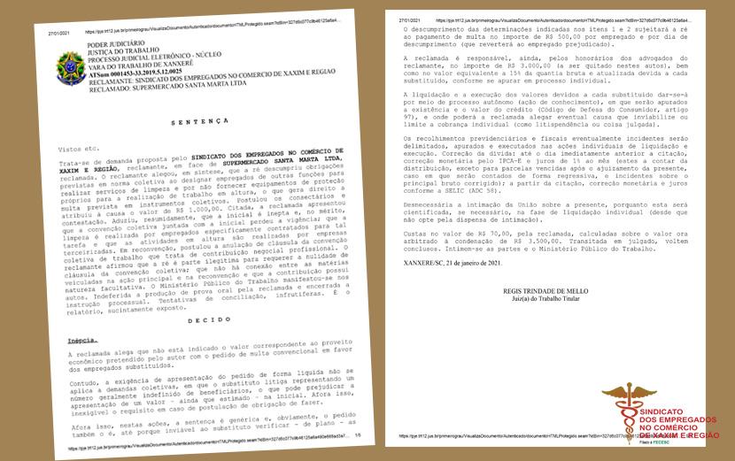 Sindicato de Xaxim ganha ação na Justiça contra desvio de função dos comerciários